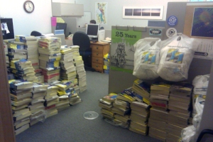 Seattle City Council Office with Stacks of Phone Books