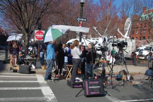 The Boston Commons became the site of a media frenzy in the hours following the bombing.