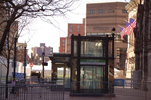 The Copley Square T Station on Boylston Street in Boston, typically abuzz with city life, is now surrounded by barricades and desolate, closed to the public after the bombings.